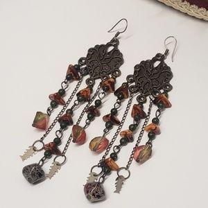 Unique Vintage Beaded Dangle Earrings